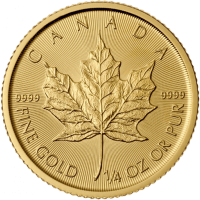 maple leaf 1 4 unze gold goldm nzen gold robbe. Black Bedroom Furniture Sets. Home Design Ideas
